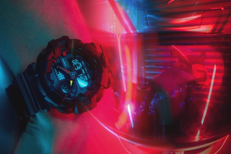 "GSHOCK Introduces the ""Neo Tokyo"" Watch Series akira movie japan GA140 GA700 shock resitance 200M Water Stopwatch Countdown Timer 12/24 Hr Time Formats yellow red and blue bezels"