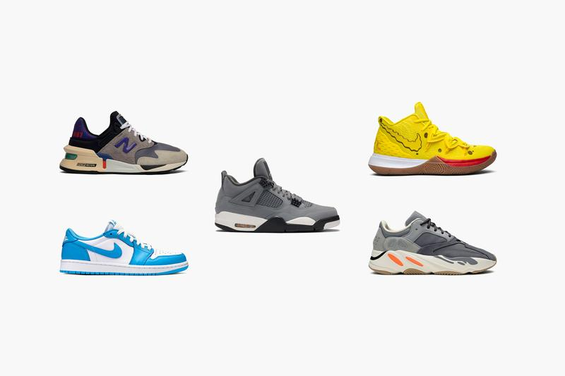 GOAT highlights most popular sneaker releases quarter 3 2019 Nike Asics Jordan Adidas YEEZY Stranger Things Tailwind Spongebob Kyrie 5 Koston 1 Nike SB UNC Jordan 4 Cool Grey AWAKE NY Gel Kayano 5 360 Silver Mint Bodega 997S No Days Off YEEZY 700 Magnet YEEZY 350 Black Non Reflective Sneakers Best Shoes