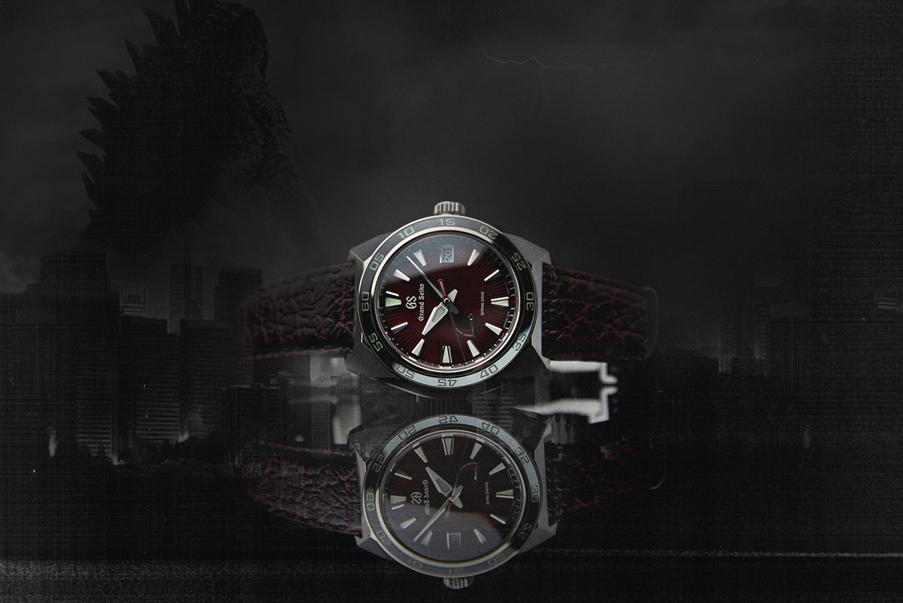 Grand Seiko Drops Watch for Godzilla's Anniversary wako store black red dial shark strap sport 65th 20th years celebrates spring drive japan watchtower lizard black