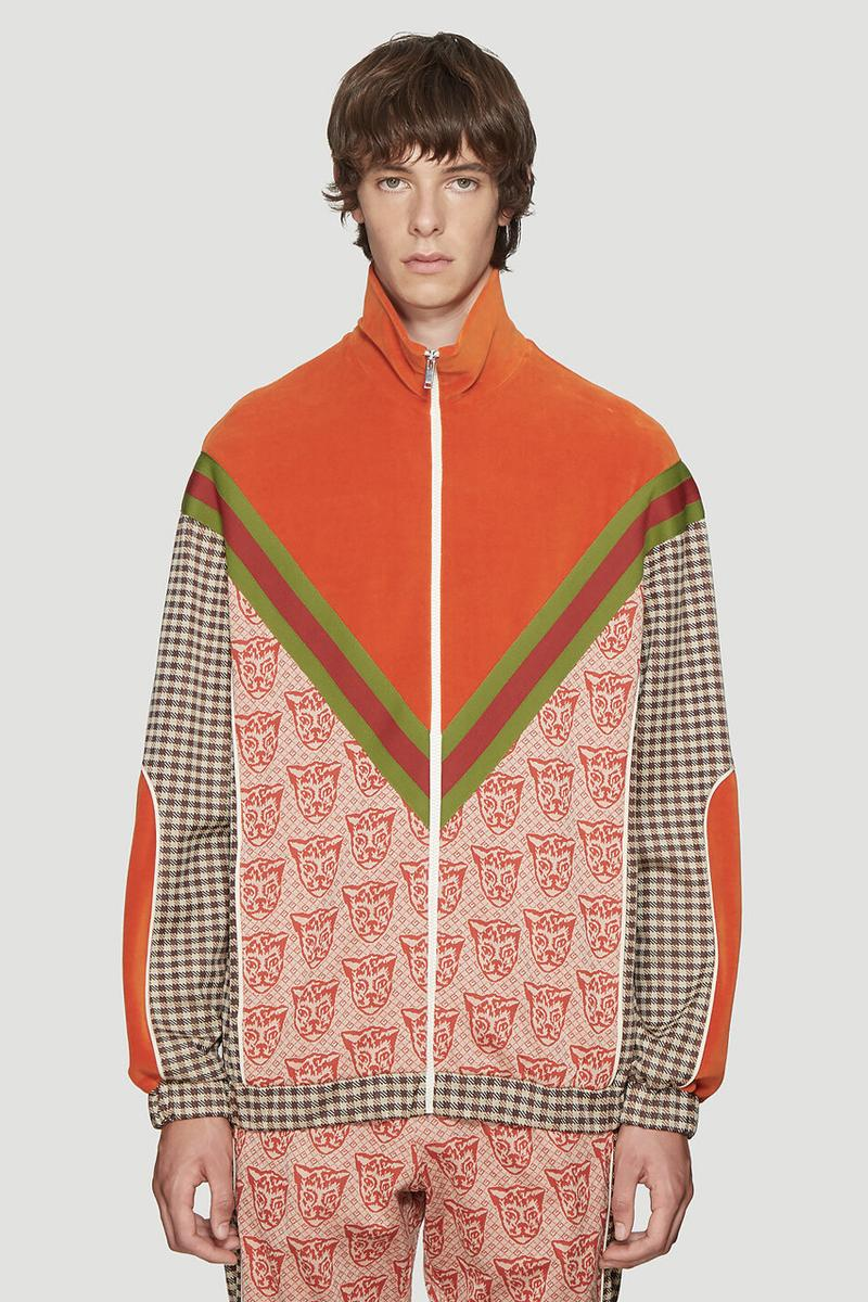 Gucci Contrasting Print Tracksuit cat motif gingham brown classic vintage retro velour chevron green red jacket pants matching pattern