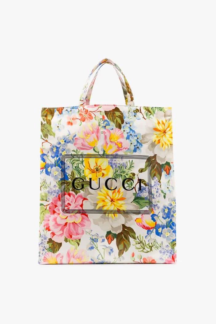 Gucci Multicolored Floral-Print Tote Bag Italian carrying bag PVC