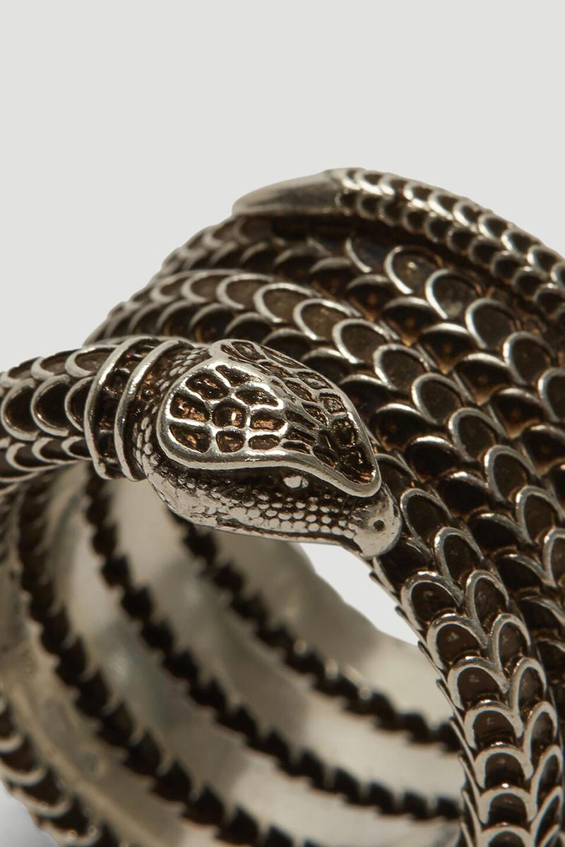 """""""Gucci Garden"""" Snake Cuff Bracelet Antique Finish Stacked Ring Engraved Motif Design Alessandro Michele Scales Details 100% Sterling Silver"""