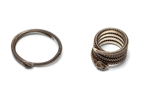 """Gucci Garden"" Introduces Intricate Antique-Inspired Snake Cuff Bracelet & Ring"