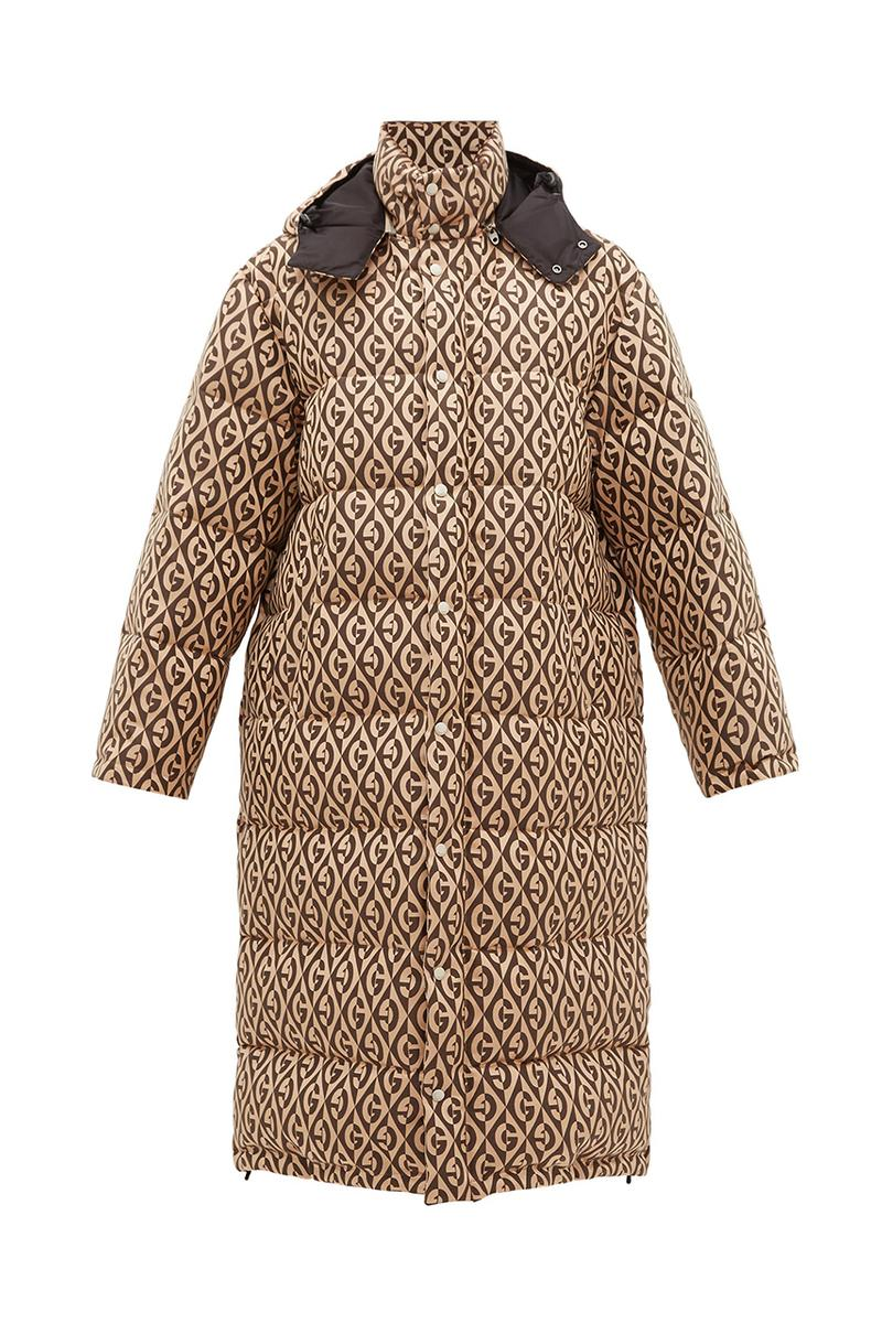 Gucci Logo-Jacquard Down-Filled Coat Rhombus logo 1930 Design Big Winter Coat Fall/Winter 2019 FW19 Alessandro Michele Italian Quilted Detachable Hood
