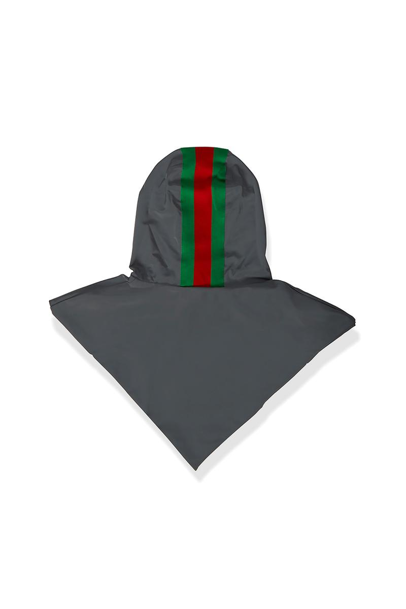 Gucci Signature Stripe Reflective Hood Grey Motif Green Red Technical Fabrication Jacket Addition Accessories Alessandro Michele Fall Winter 2019 FW19