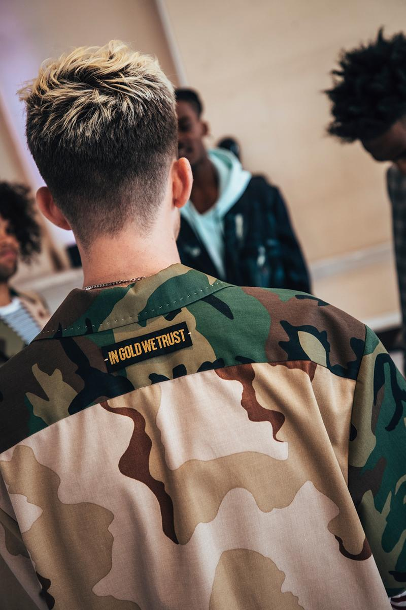 In Gold We Trust Preview SS20 at London Fashion Week Hypebeast Streetwear Materials Spring Summer 2020 Collection Johannes Vermeer Painting Industrial Installation.