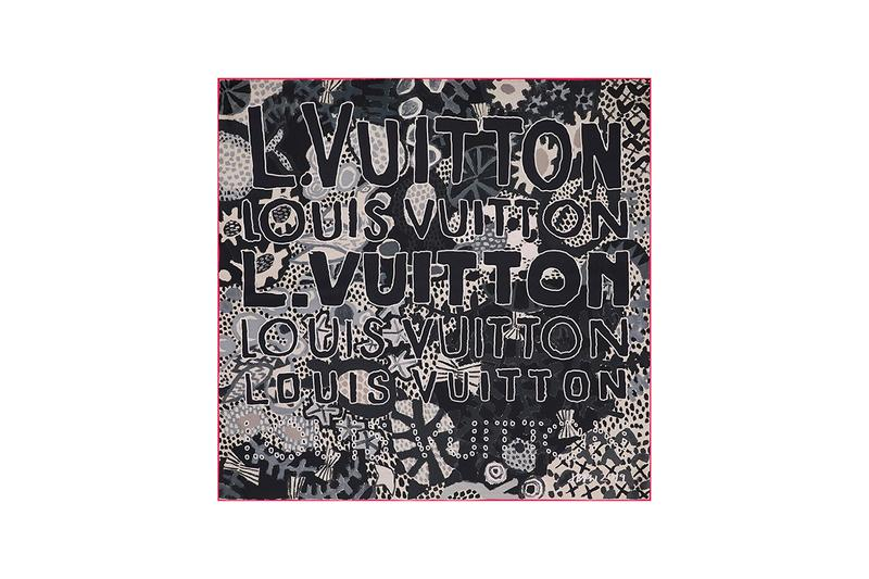 "Jonas Wood x Louis Vuitton Textile Accessories Collection American Artist Colorful Motifs Drawings Wraps Scarves Blue Pink Basketballs ""LV"" Logo"