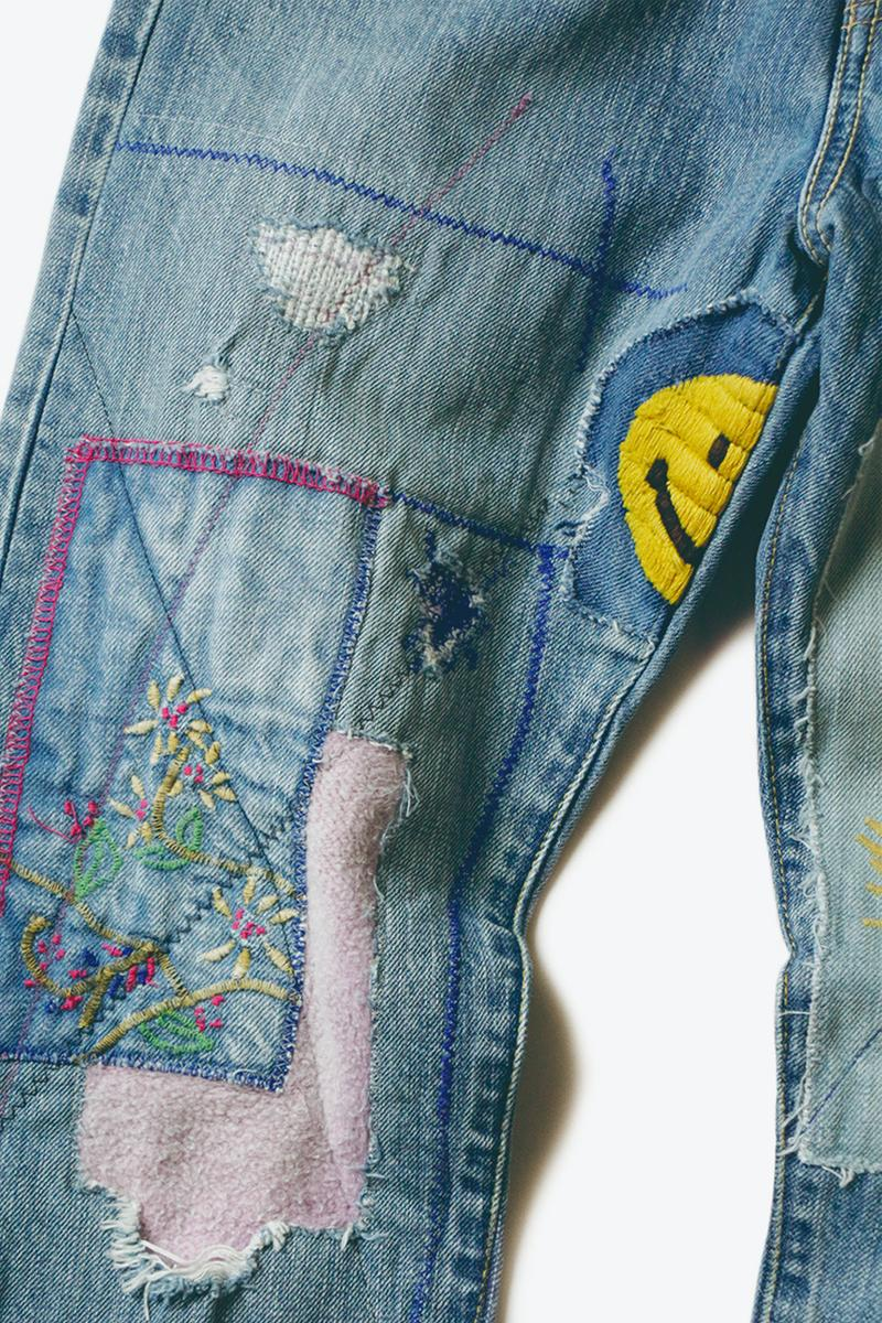 KAPITAL 14oz OKABILLY Gypsy Patch Remake Denim Release Japanese fashion menswear streetwear patchwork cotton jeans pants trousers smiley flower embroidery washed