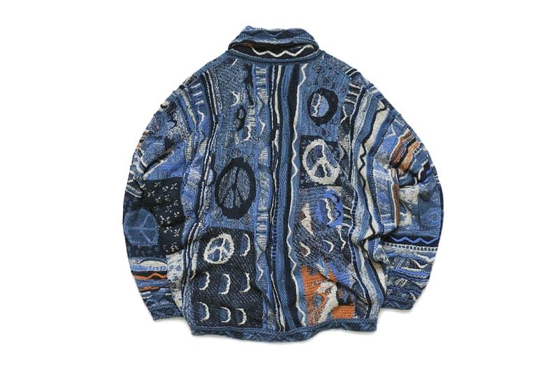 KAPITAL Masterfully Woven 7G Knit BORO GAUDY Cardigan post impressionistic painterly tribal folk indigo orange fall winter 2019 sweater