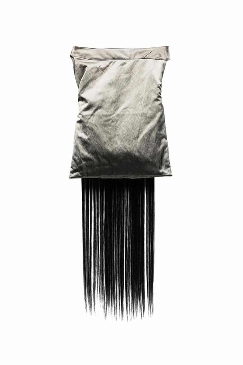 Kiko Kostadinov Doris Hair Trimmed Messenger Bag grey blue strip polyamide pouch shoulder cross body virgin wool fall winter 2019 black