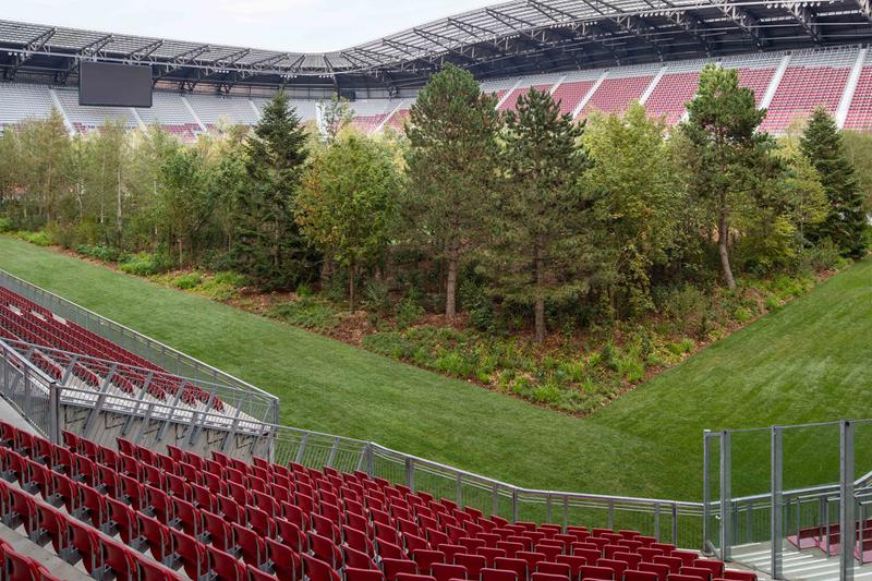 klaus littmann artist for forest the unending attraction of nature installation football stadium worthersee klagenfurt austria art intervention 2019