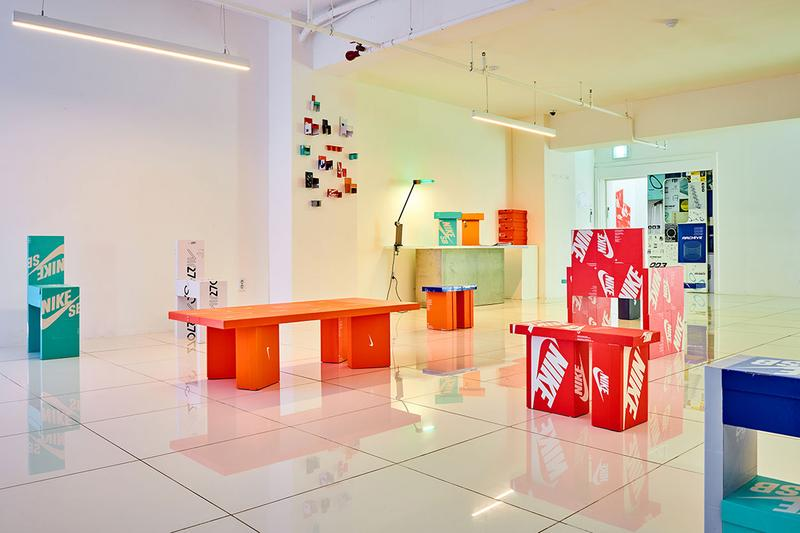"Gyu Han Lee ""ON MY SEAT"" Exhibition 003archive Nike Shoe Boxes Red Black White Blue Furniture Chairs Plywood Benches Stools"