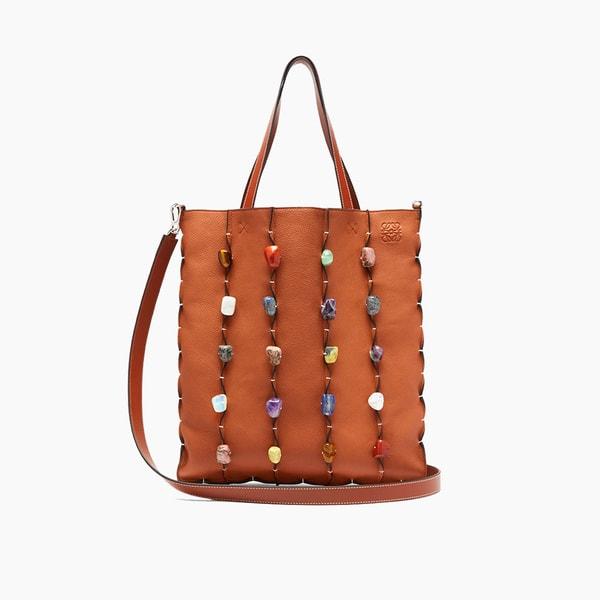 LOEWE Stone-Embellished Leather Tote Bag