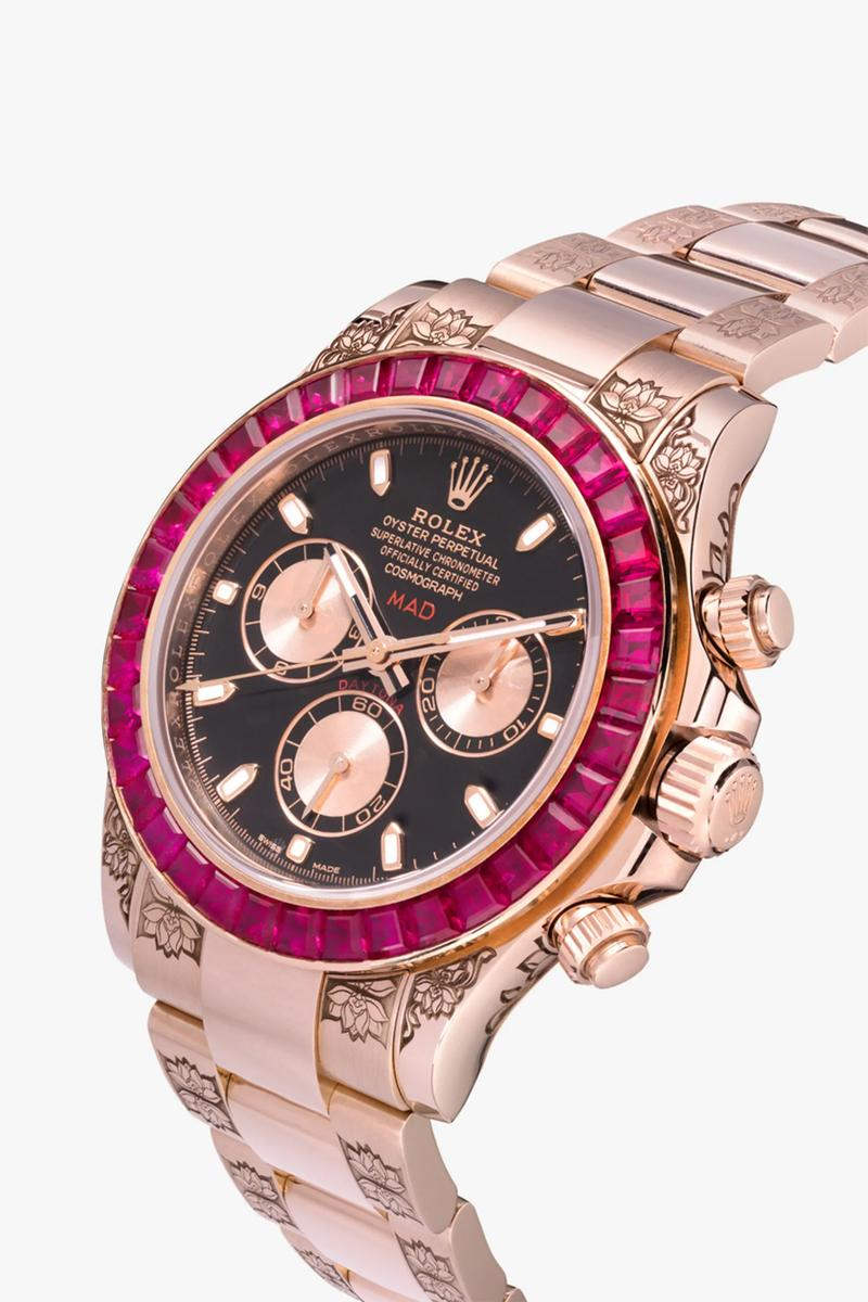 mad paris red rolex daytona ruby sapphire 40 mm watch 115000 usd dollars rose gold tone finish bezel customized dial