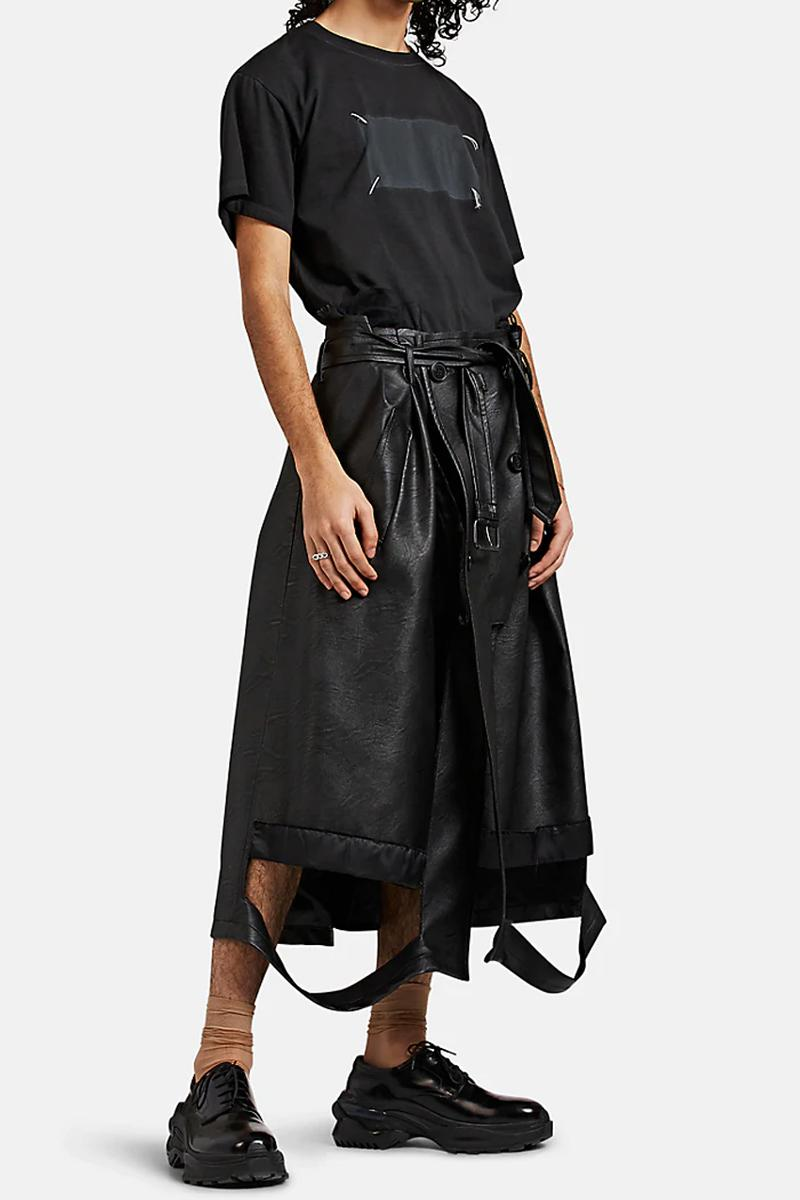 maison margiela deconstructed trench coat style leather shorts black colorway fall 2019 belted john galliano