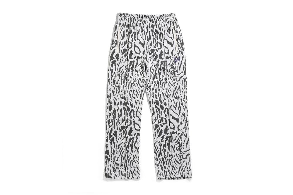 Needles Track Jacket Poly Jacquard diamond zebra tribal vertical stripes animal prints olive sporty casual beige steve mcqueen papillion high collar keizo shimizu