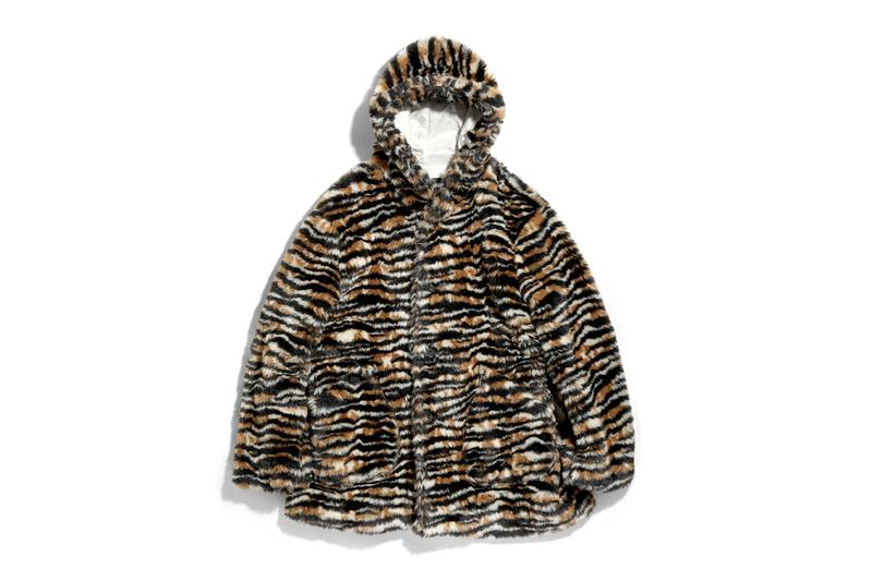 Needles Hooded Tiger Stripe Fur Coat nepenthes Keizo Shimizu orange brown light satin cream color made in japan oversized layering fall winter 2019