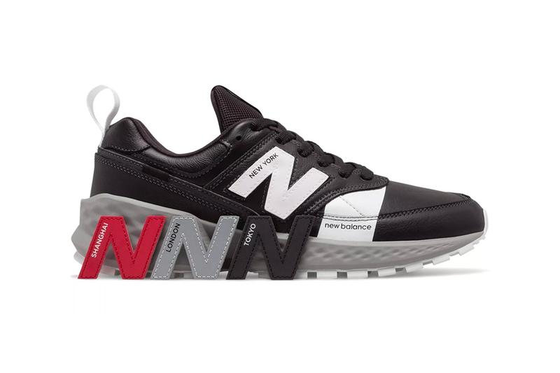 "New Balance 574S ""Flight Path"" Release Info Interchangeable logos cities new york shanghai london tokyo NB ""N Logo"" black/white red grey"
