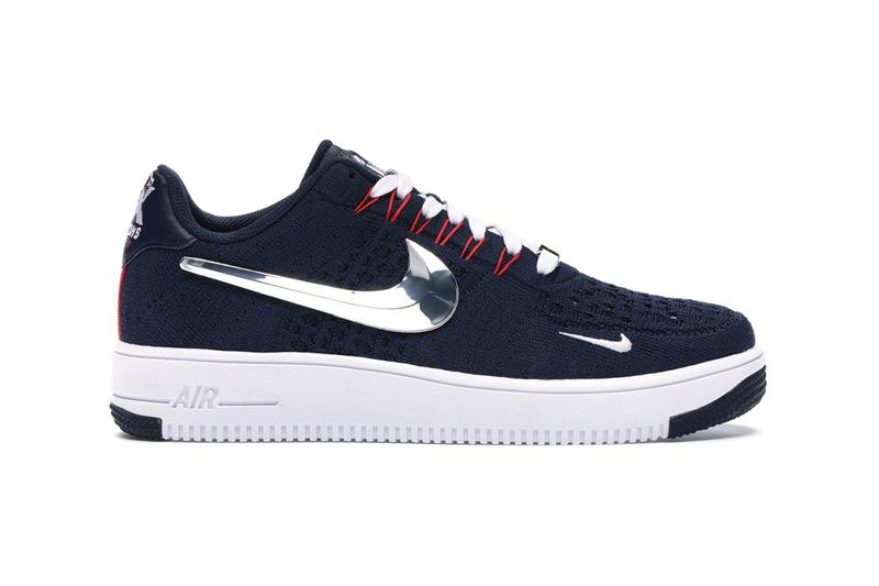 new england patriots nike air force 1 6x super bowl champions liii 53 ultra flyknit lowblue red silver lombardi trophy los angeles rams