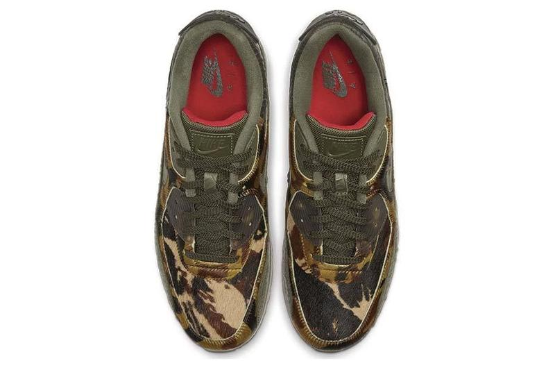 Nike Air Max 90 Cargo/Khaki Colorway For Sale Release Information Camouflage detailing Ponyhair Noirfonce Sneakers Trainers