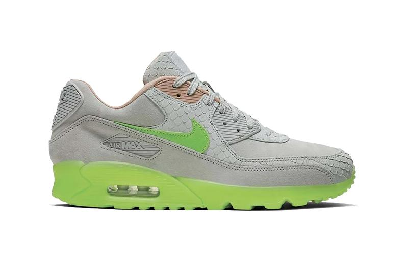 Nike Air Max 90 Premium Pure Platinum Electric Green footwear sneaker bio beige scale suede nubuck shoes retro air unit sole neon fluorescent