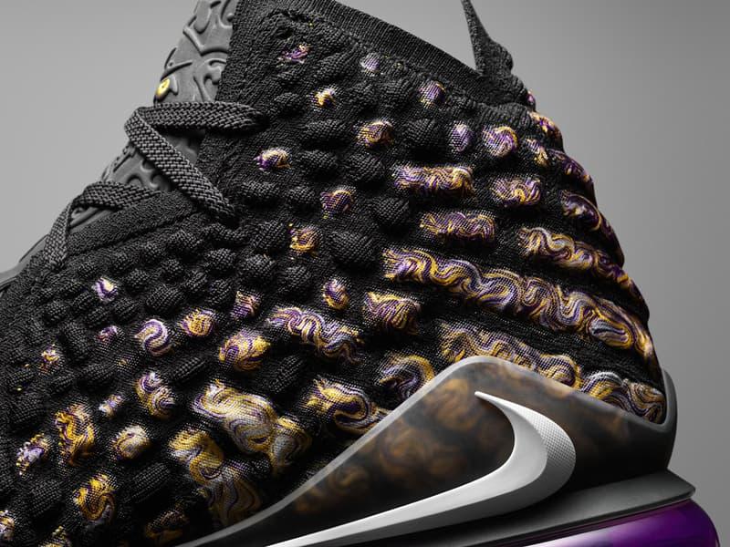 Nike LeBron 17 Unveil New Knitposite Technology zoom air james basketball sneakers shoes black purple iridescent white grey orange future air xvii black gold yellow los angeles lakes 2019 2020 nba season