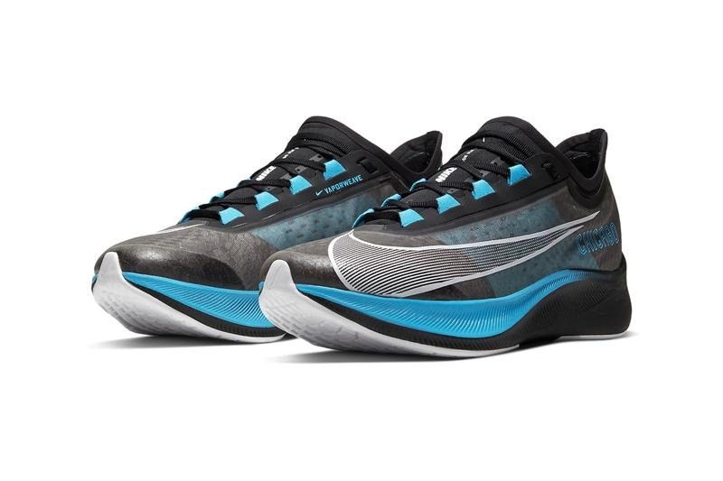 Nike Zoom Fly 3 Chicago Marathon Release CT1114-001 Black Light Current Blue Wolf Grey White Info Buy