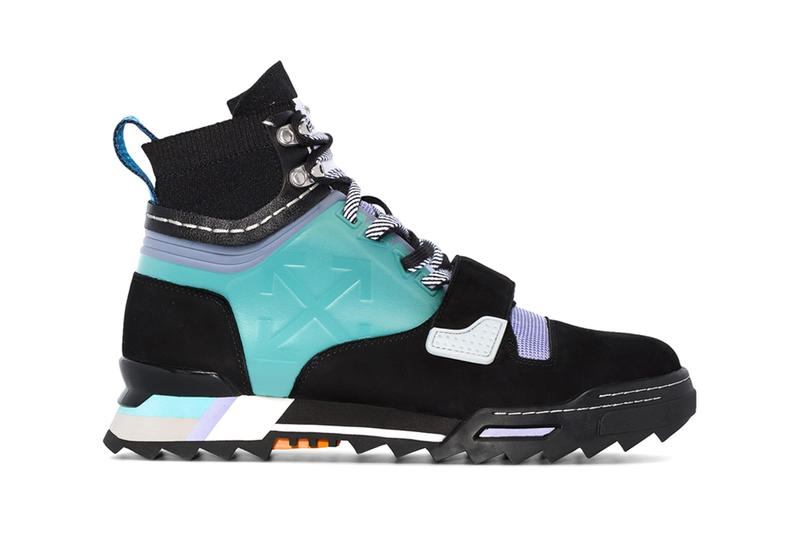 """Off-White™ Black Blue Leather Hiking Sneakers Purple Color-Blocked """"Made on earth, designed on a plane"""""""