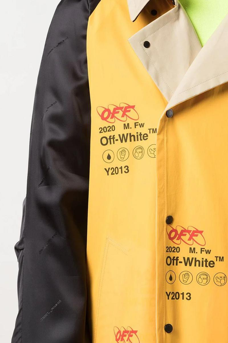 Off-White™ Monogrammed Industrial Coat Release Info the webster buy now drop date price virgil abloh yellow black monogram-print cotton satin viscose