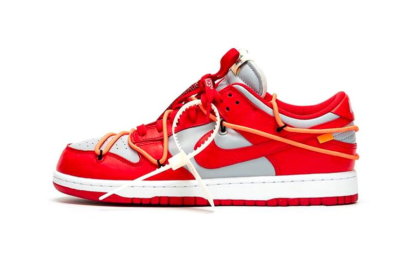 """Off-White™ x Nike Dunk Low """"University Red"""" sneaker where to buy price release 2019 Virgil Alboh collaboration"""