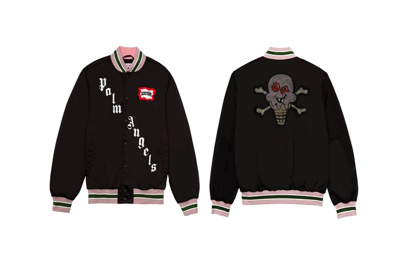Palm Angels & ICECREAM Release Skull-Patched Varsity Jacket