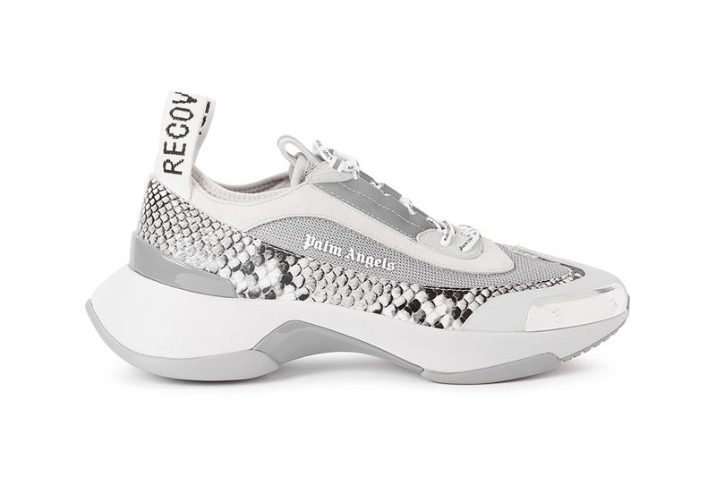 palm angels recovery panelled paneled leather snake print sneakers release date fall 2019 neoprene mesh reflective trim silver tone metal