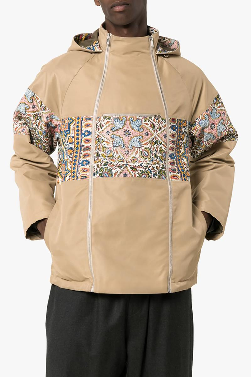 Paria Farzaneh Iranian Print Quilted Jacket Neutral Print Detail Zip Hooded Jacket tile pattern paisley floral chevron vibrant colorful heritage beige