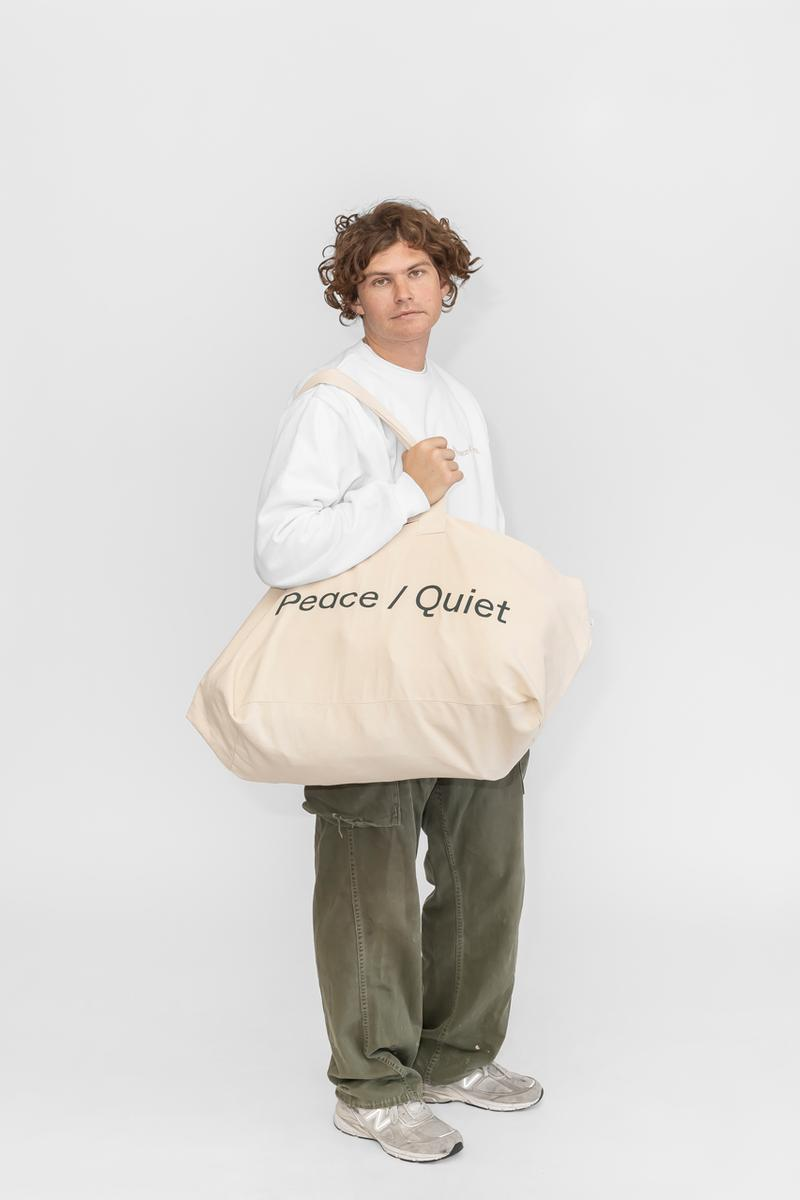 Peace & Quiet Fall Capsule Collection Crewneck Sweatpants T-shirts Long sleeves Shorts Pants Tote Bags Natural Green White