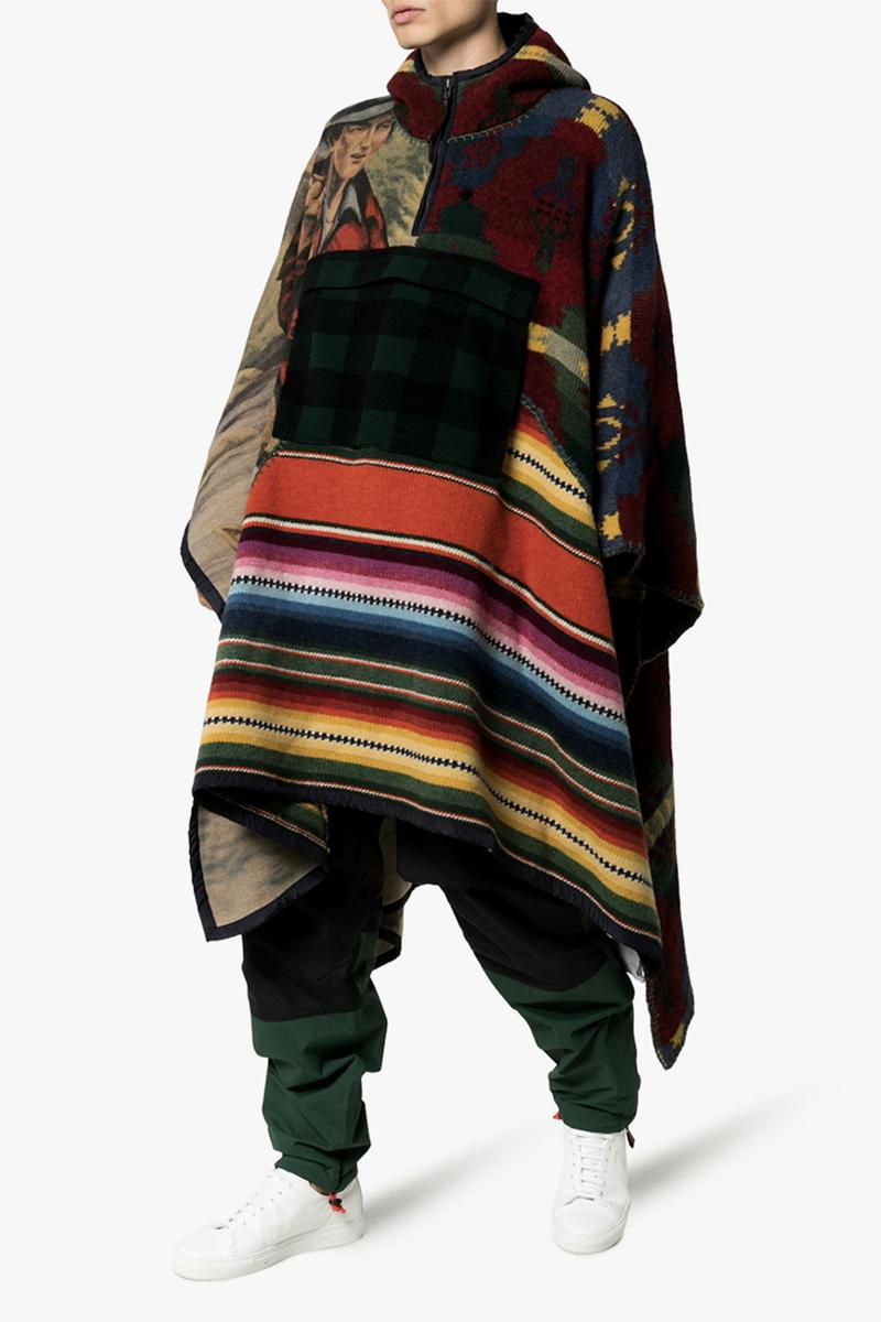 Polo Ralph Lauren Hooded Patchwork Poncho sportsman graphics 1990 multi colored wool cashmere americana navajo stripes plaid cowboy
