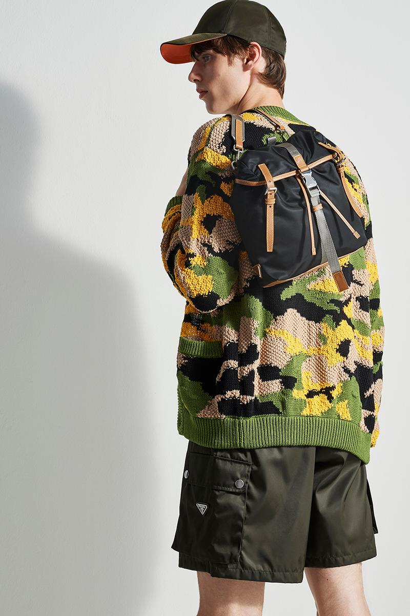 prada escape selfridges apparel sneakers camouflage shirts boots accessories water bottles outdoor practical themed design store space first look buy cop purchase