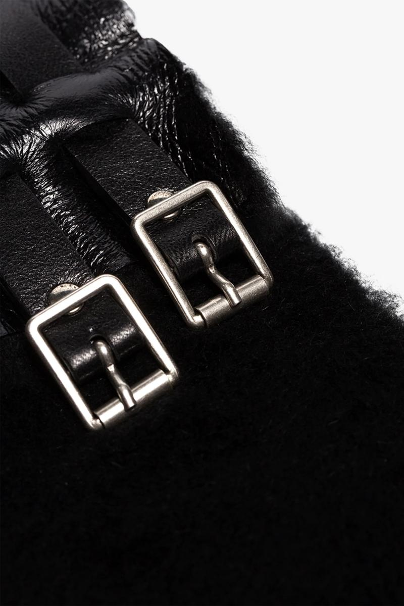 raf simons black shearling buckle scarf nappa leather fall 2019 release