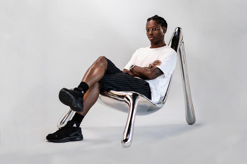 "Reginald Sylvester II 'HEEL CHAIR (Judy)' R & Company ""Chairs Beyond Right & Wrong"" Raquel Cayre Stainless Steel Polished"