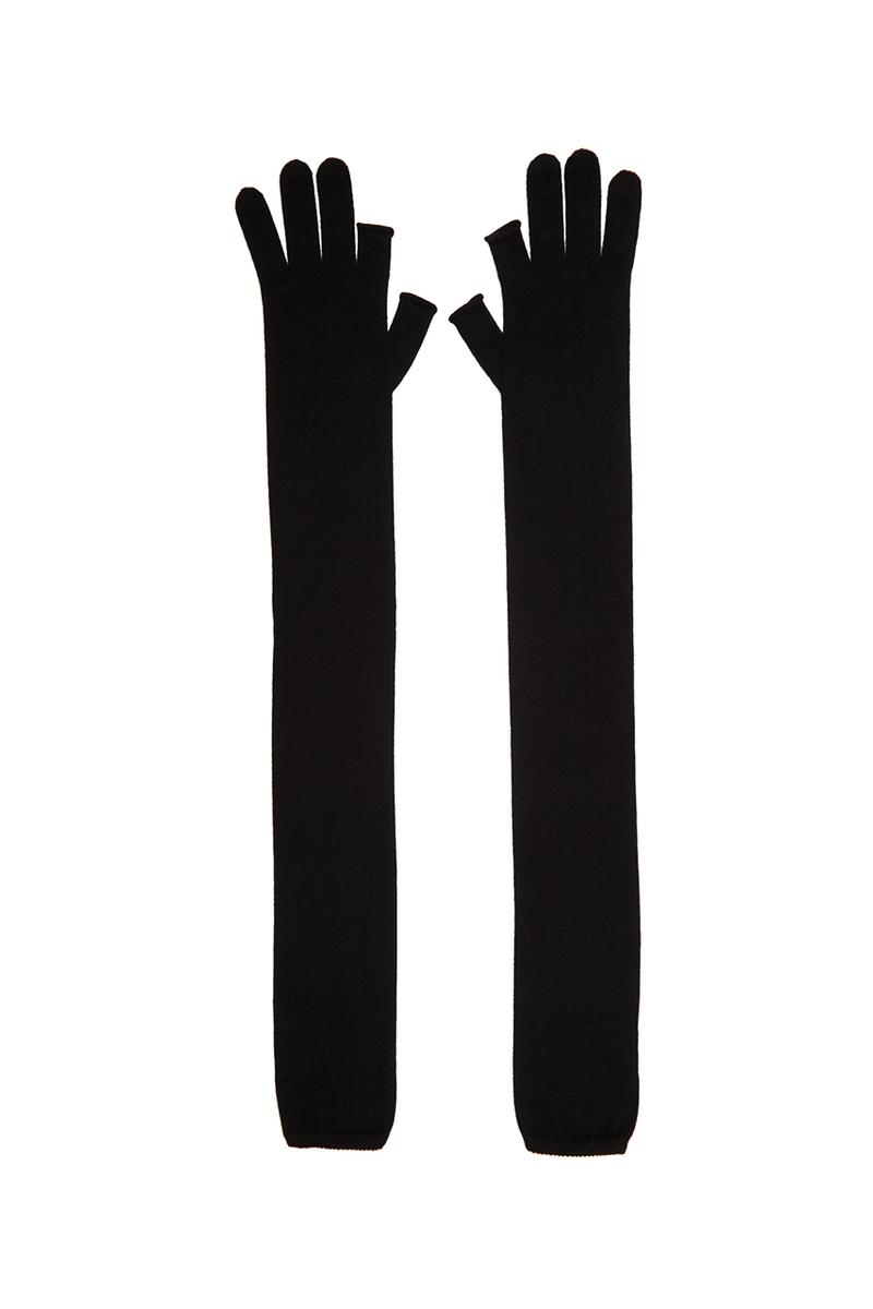 Rick Owens Larry Fall Winter 2019 FW19 Black Cashmere Fingerless Gloves Release Information Cop Online SSENSE Runway Collection Piece