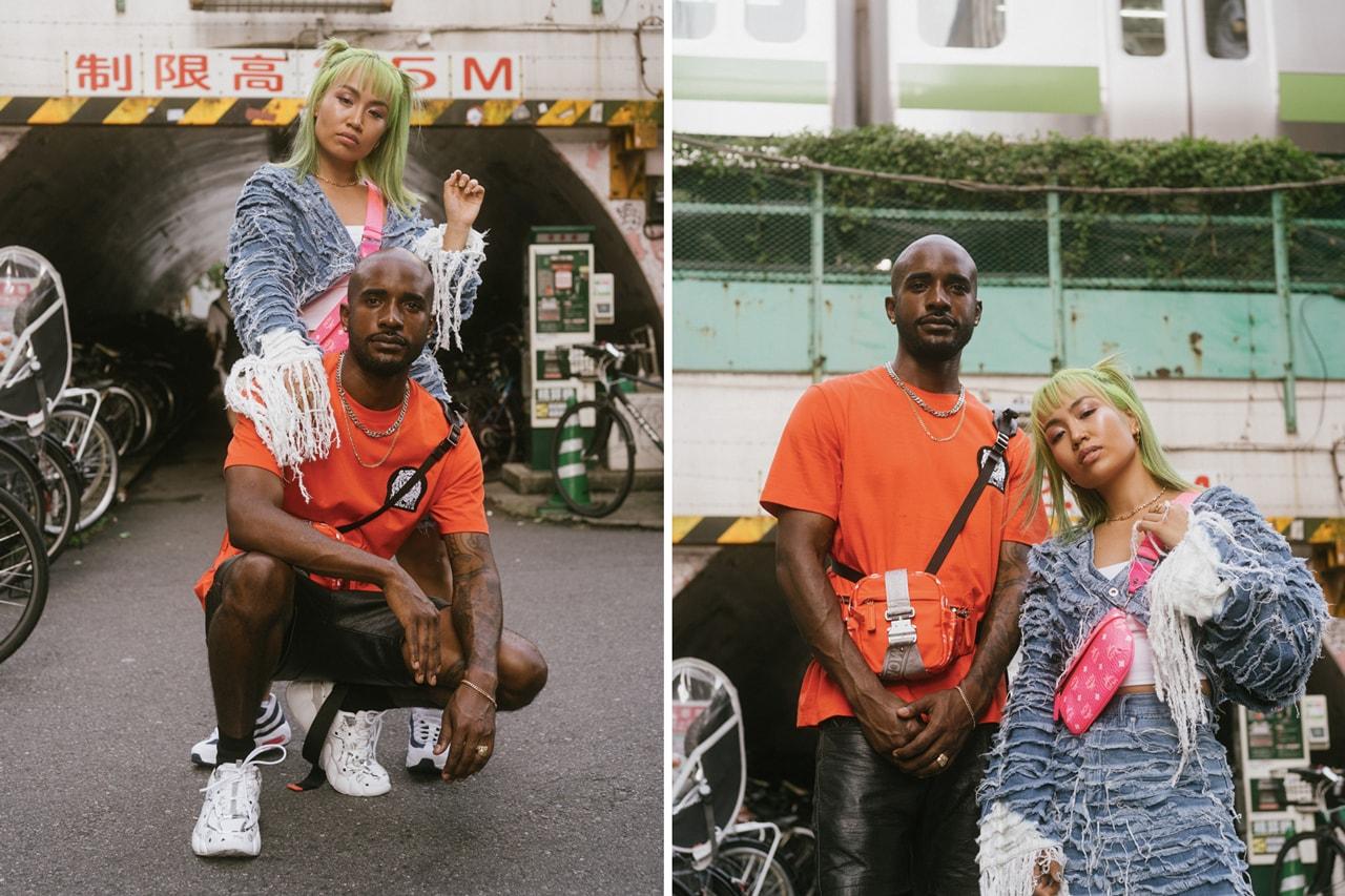 Rie Hata & Travis Gumbs Explore Japan in MCM RTW FW19 pink cognac shoulder bag chest rig bucket hat motif brown white jacket hoodie leather green orange south korea toyko harajuku