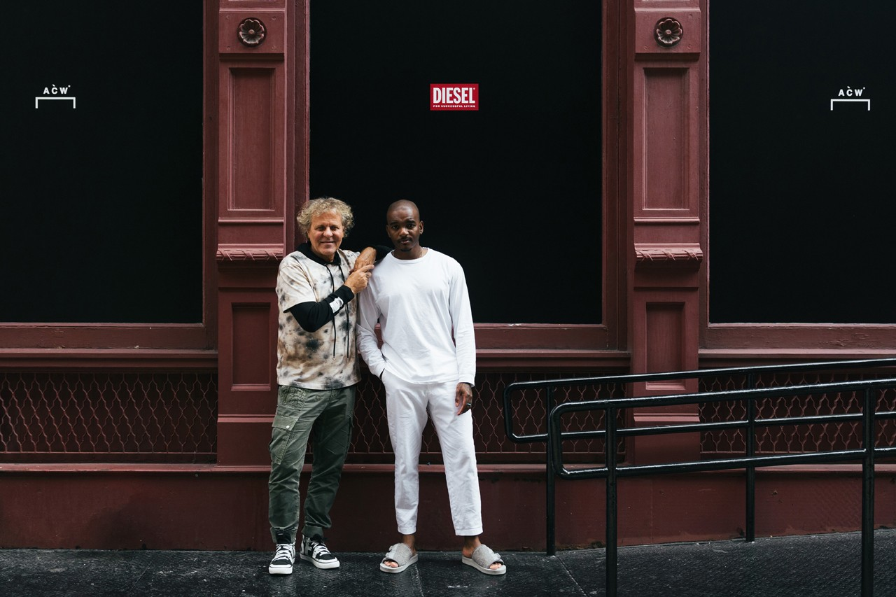 Samuel Ross, Renzo Rosso Streetsnaps Interview style diesel a cold wall red tag collaboration snaps collection new york fashion week event