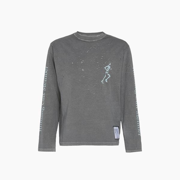 Satisfy Gray Moth Eaten Long Distressed Cotton T-Shirt