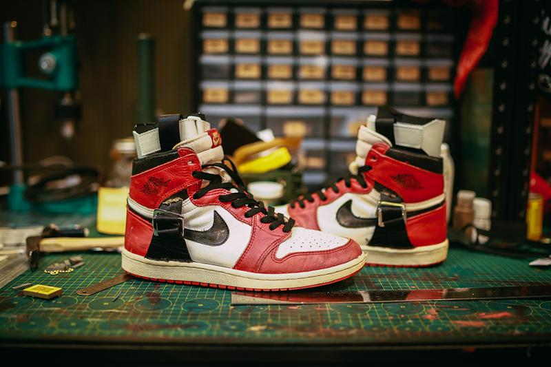 Sabotage SBTG Surplus One-Off Ankle Brace AJ1 Michael Jordan Recovery 1985 Air Jordan 1 Sneaker Customization REHAB S.O.S Secondnatvre Vintage Nike Mark Ong