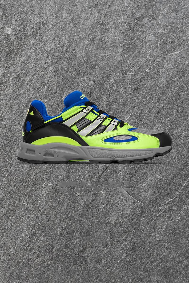 Size? Exclusive adidas Originals LXCON '94 Release Information Cop Online In Store Announcement First Look Three Stripes OG Sneaker Shoe Footwear Blue White Black Green Hi Vis AdiPRENE Torsion EVA