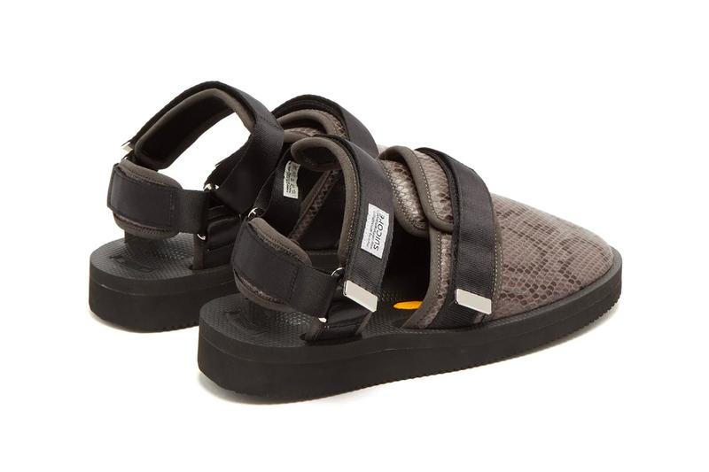 Suicoke Snake-Effect Velcro Sandals Moto-VSNK Release Black Brown