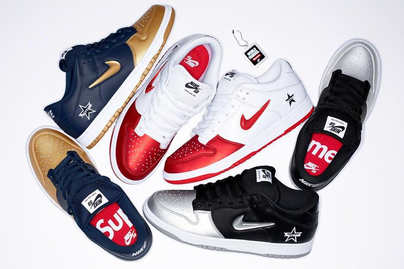 Supreme Nike SB Dunk Low 2019 SNKRS Release Info date september 2019 14 purchase cost pricing where to buy fall winter fw19 sneakers shoes navy gold metallic silver gray grey black red white pics pictures image images