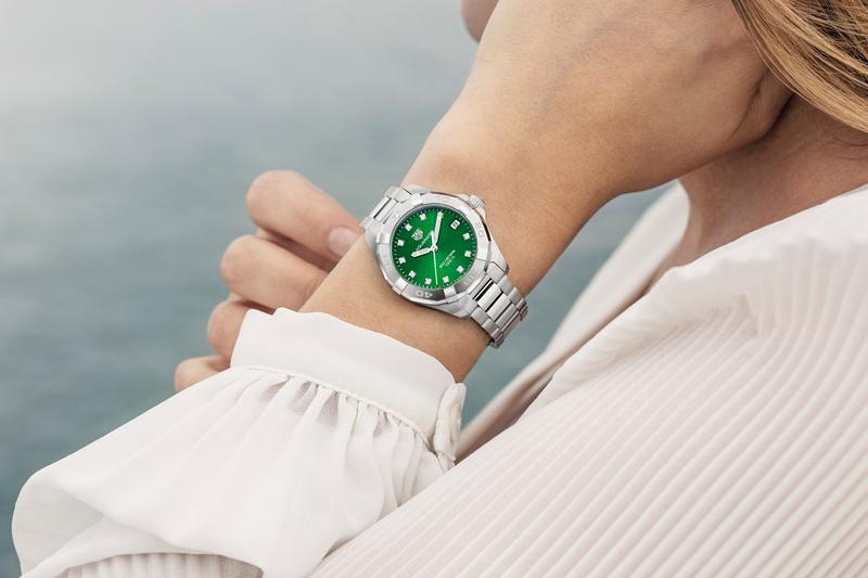 TAG Heuer Aquaracer Collection Emerald Green Dials Ladies Gents 43 mm 32 mm Stainless Steel
