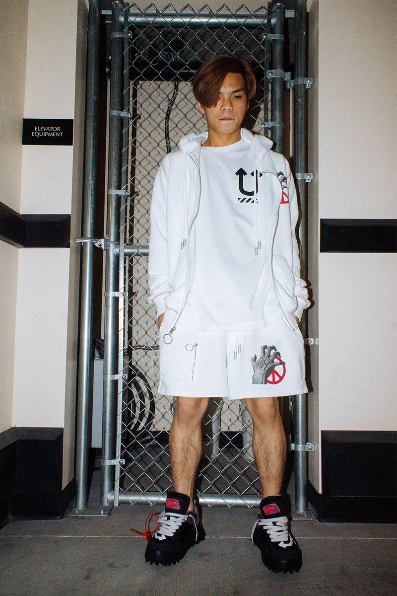 """UNDERCOVER x Off-White™ """"UNDEROFFWHITECOVERS"""" Editorial campaign lookbook jun takashi virgil abloh gilapple pants trousers denim hoodies t-shirts collaboration capsule"""