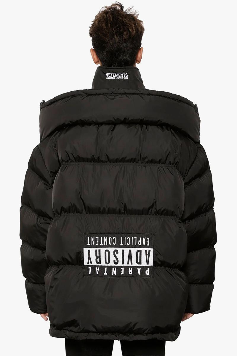 "Vetements ""Upside-Down"" Down Jacket With Logo Patch Release Information Fall Winter 2019 Runway Piece Demna Gvaslia ""Parental Advisory Explicit Content"" Puffer"
