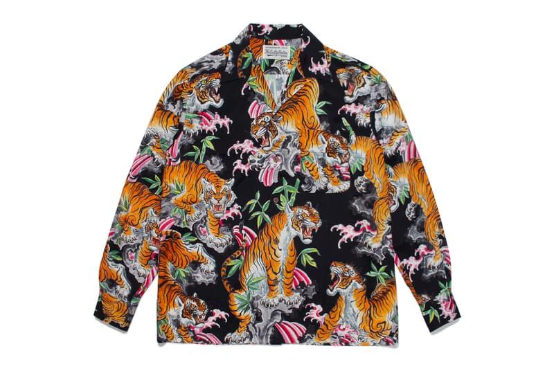 Tim Lehi WACKO MARIA Hawaiian Shirt Tattoo artist long sleeve button up traditional japanese subtropical prints graphics tiger floral flower